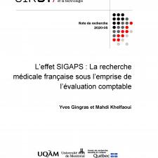 L'effet SIGAPS: La recherche médicale française sous l'emprise de l'évaluation comptable